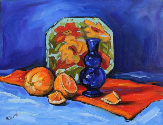 A personal favorite from my Etsy shop https://www.etsy.com/listing/398971057/oranges-cobalt-still-life-14-x-11