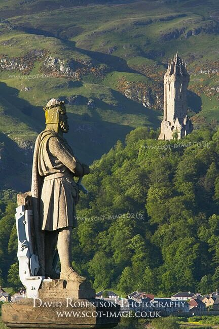 View of the Wallace Monument and the Robert the Bruce statue on Stirling Castle Esplanade, with the Ochils as a backdrop, Stirling City, Stirling, Scotland, UK.