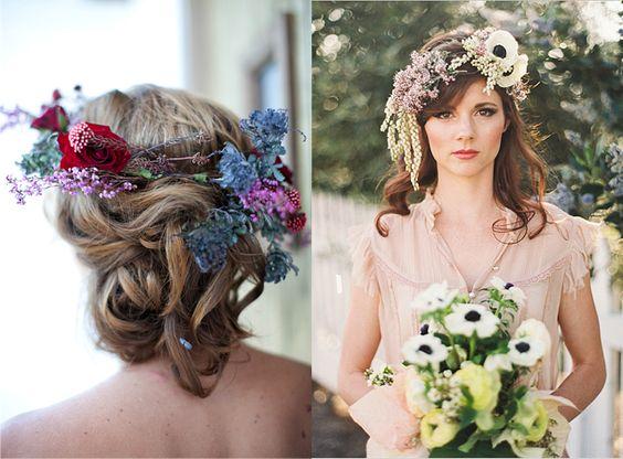 ACCONCIATURE SPOSA 2014: CORONE DI FIORI PER UN MATRIMONIO SHABBY CHIC By www.SomethingTiffanyBlue.com #hair #wedding