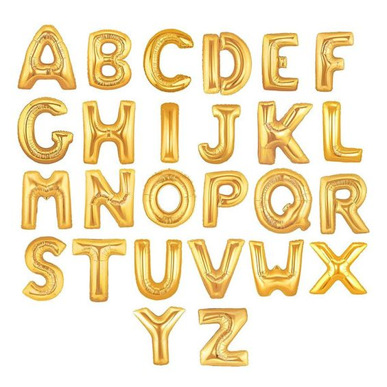 "16"" Inch Gold Foil Mylar Letter Balloons - Alphabet, Name, Graduation, Birthday, Engagement, Baby, Bride, Congrats - by Celebration Lane"