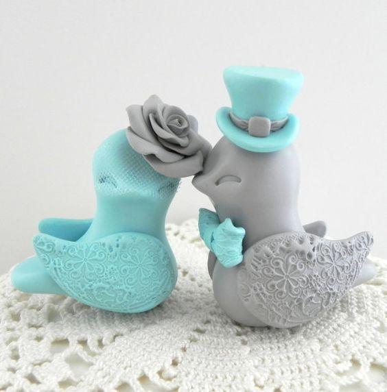 Lovebirds Wedding Cake Topper, Tiffany Blue and Grey, Bride and Groom Keepsake, Fully Customizable