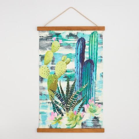 Cactus Canvas Tapestry World Market Cactus Wall Art Floral Wall Art Inspirational Wall Art