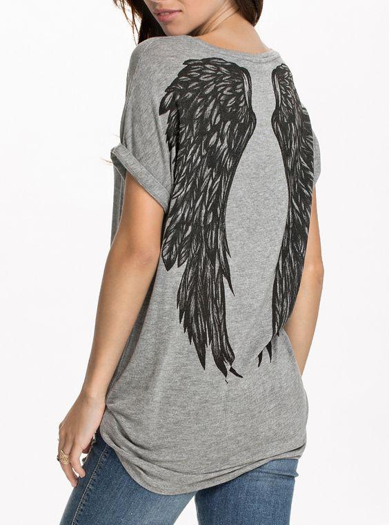 Grey Short Sleeve Wing Print T-shirt 9.99