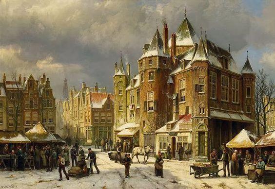 Barend Cornelis Koekkoek - De Waag op de Nieuwmarkt, Amsterdam
