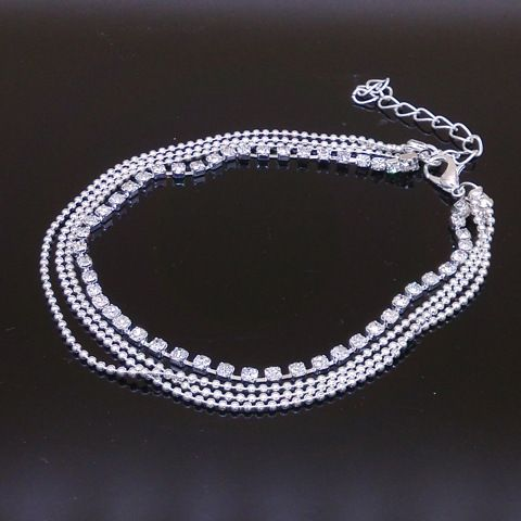 Free Shipping New Charm Silver Plated Bead Anklets for Women High - free bol
