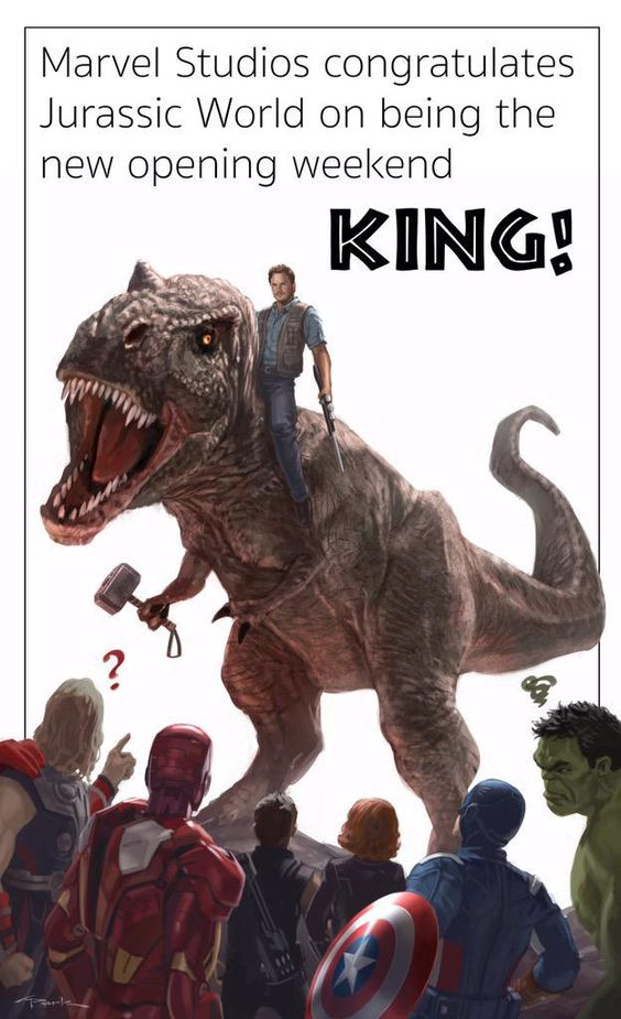 The illustration features Chris Pratt's character Owen riding a T-Rex looking down upon The Avengers, which includes Thor, Iron Man, Hawkeye, Black Widow, Captain America and The Hulk. Also notice that the T-Rex is holding Thor's mighty hammer. The artwork above was created by Andy Park, the world famous artist from Marvel Studios' visual development team who has been very very responsible for the awesome look of the Marvel films. Marvel Studios head Kevin Feige posted the image on his…