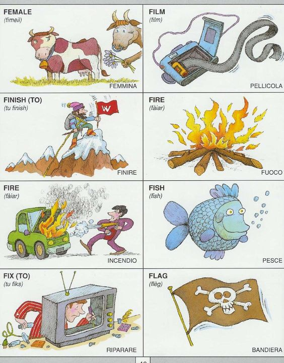 Learning Italian Language ~ Parole Inglesi Per Piccoli e Grandi - Dizionario Illustrato:
