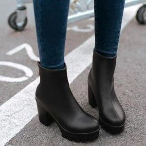 Short boots, Chunky heels and Boots on Pinterest