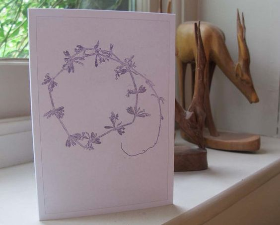Blank art note card greetings card A6  6 x 4 by fieldandhedgerow, $3.00