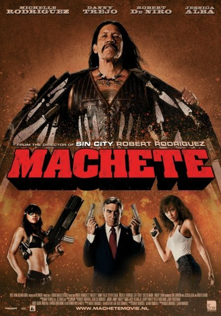 Though a fake trailer for Robert Rodriguez and Quentin Tarantino's Gridhouse films, Machete has turned out to be one of the best ones. There is gore, bad dialouge, nudity... pretty much anything a Grindhouse film should require. Great cast, including : Danny Trejo, Michelle Rodriguez, Jessica Alba, Robert Deniro, Don Johnson, Steven Seagal, Cheech Marin, and Lindsay Lohan.