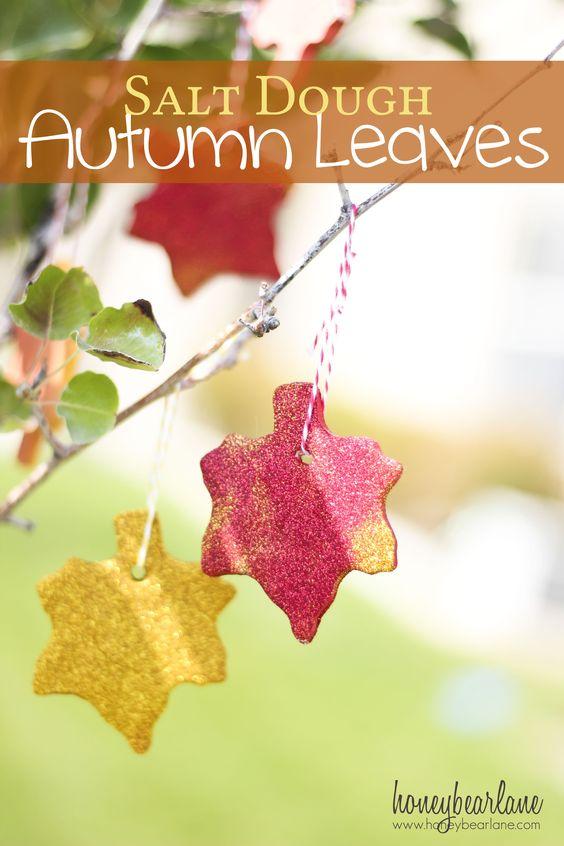 Salt Dough Fall Leaves- love the glitter!