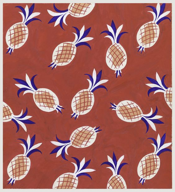 DRAWING, PINEAPPLE JUICE, TEXTILE DESIGN, 1950–70. Tommi Parzinger.