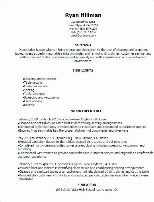 Busser Job Description Resume Unique Busser Resume Template Best Design Tips In 2020 Resume Template Professional Restaurant Resume Resume