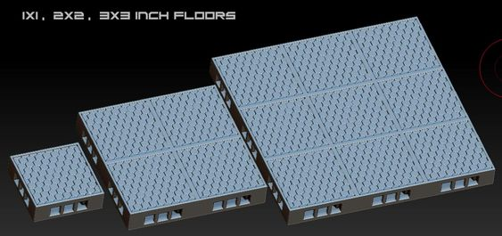 1x1 inch, 2x2 inch and 3x3 inch floor sections