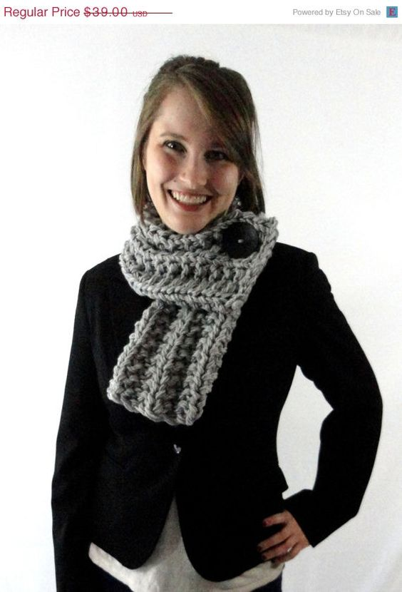 15% OFF CHRISTMAS SALE Light Gray Chunky Knit Cowl Scarf with Black Button on Etsy, $33.15
