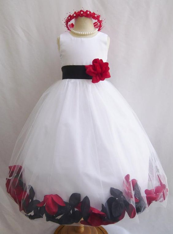 CUSTOM COLOR (IVORY with red and navy petals)   Flower Girl Rose Petal Dress WHITE by mykidstudio, $42.00
