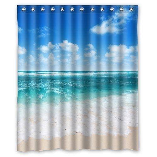 Blue Ocean Beach Seascape Shower Curtain Polyester Fabric Bathroom