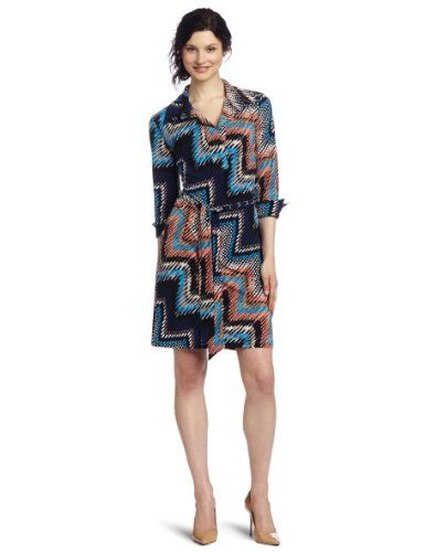 AGB Women's Three-quarter Sleeve Shirt Dress