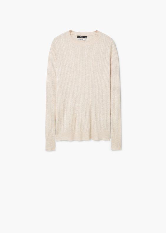 Pullover mit zopfmuster | MANGO