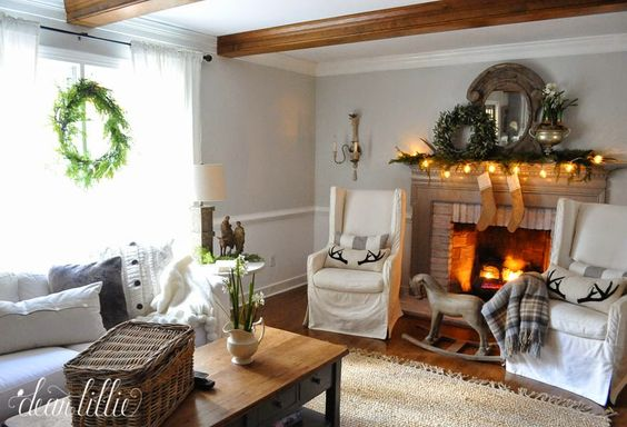Christmas Christmas Living Rooms Beams Beautiful Fire Holiday Accent