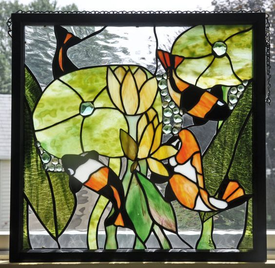 Glasses stained glass and fish ponds on pinterest for Stained glass fish