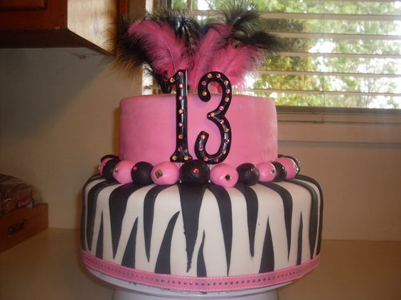 Pink with black and white zebra 13th Birthday Cake
