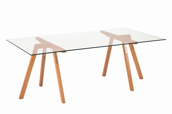 Mesa caballete madera y cubierta vidrio muebles de for Caballetes de madera para mesas
