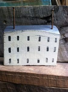 Primitive Saltbox House Rustic Folk Art by A Gambrel Off White OOAK | eBay