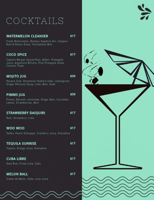 Elegant Cocktail Menu Templates Cocktail Menu Menu Template Free Menu Templates