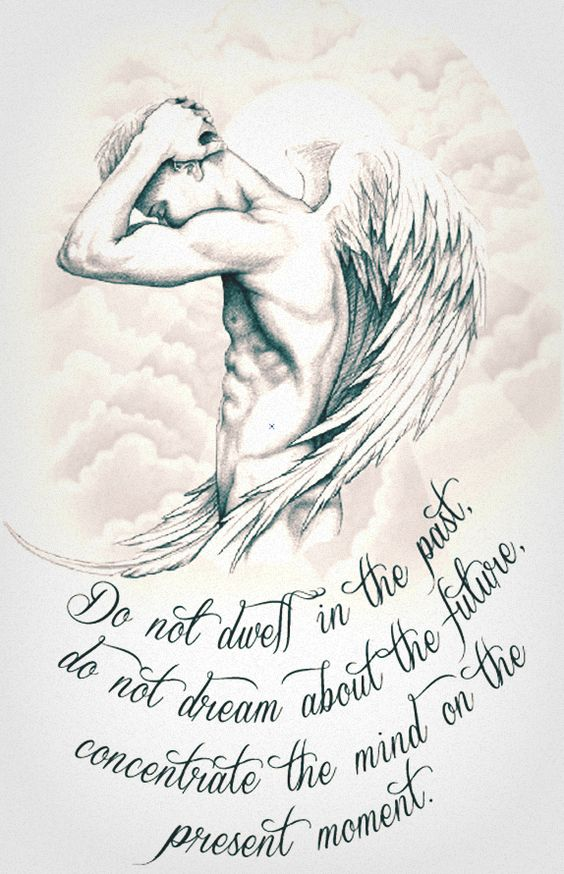#tattoo #greyscale #sleeve #guardian #angel #inspirational #quote