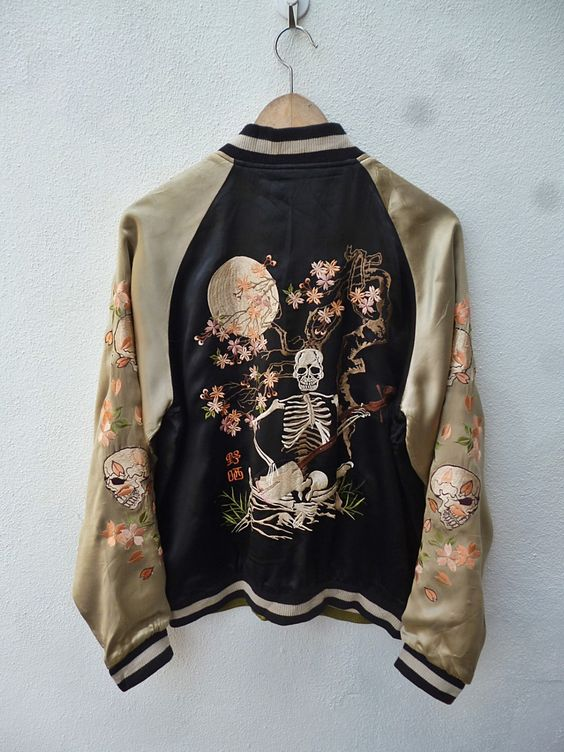 Rare Vintage 50s style REVERSIBLE Japanese PINBALL Bone Skull Skeleton Sakura Slow Script Japan Embroidery Sukajan Souvenirs Bomber Jacket by THRIFTEDISABELLE on Etsy https://www.etsy.com/listing/262966326/rare-vintage-50s-style-reversible