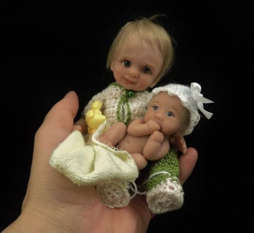 """""""TOMMY and TIFFANY"""" mini 6.75"""" & 2.75"""" polymer clay art baby doll sculpt OOAK by"""
