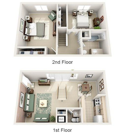 2 Bedroom 1 5 Bath Townhome Small House Design Plans Sims House Small House Plans Small house plan for rent