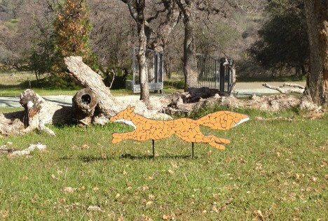 Outdoor yard sculpture, fox, yard ornament, garden decor, animal sculpture, red fox Dolphinsbycindy on Etsy