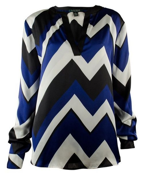 nice Women's Petite Long-Sleeve Chevron-Print Tunic Top