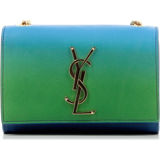 Saint Laurent Classic Small Kate Monogram Bag (¥136,600) ❤ liked on Polyvore featuring bags, handbags, flap purse, real leather purses, green purse, leather flap purse and yves saint laurent