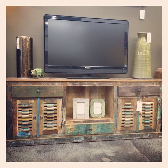 Reclaimed Wood Shutter Media Stand Reclaimed Furniture