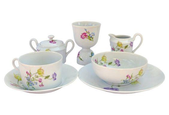 Limoges Porcelain Breakfast Set, 7 Pcs