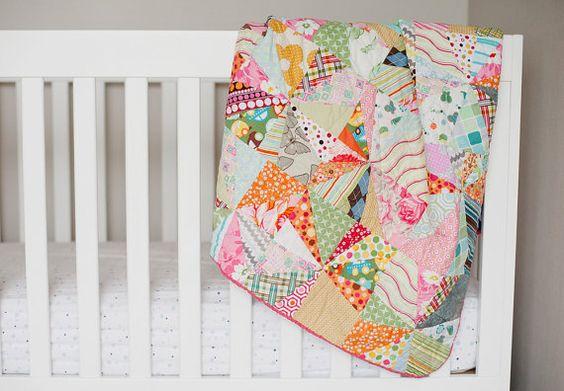 Quilt / Baby Quilt / Playmat / Blanket  - Crazy Quilt. $80.00, via Etsy.