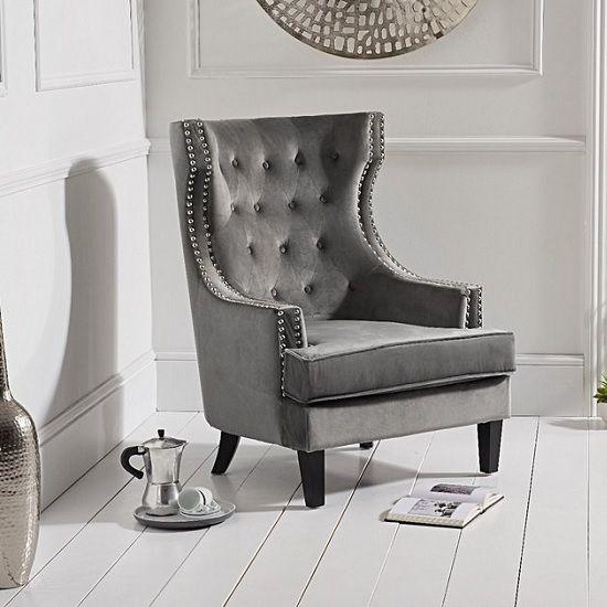 Irina Modern Accent Chair In Grey Velvet With Black Legs Velvet