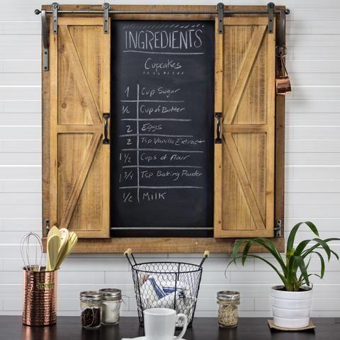 Rolling Barn Door Chalkboard Magnetic Wall Organizer Americanartdecor Com Chalkboard Wall Decor Hanging Wall Organizer Barn Door