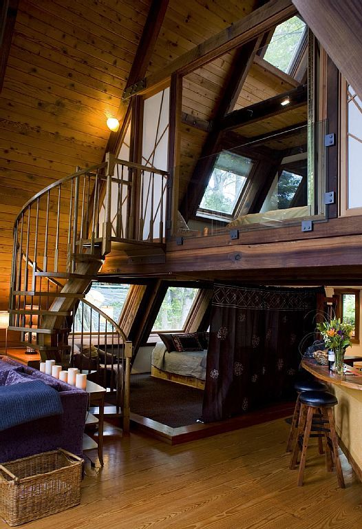 Decks ocean views and window on pinterest for A frame cabin with loft plans