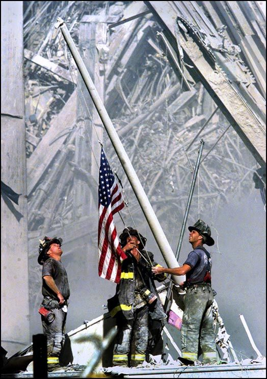 Thomas E. Franklin (photographer) captured this photo on September 11, 2001. The picture shows three New York City firefighters raising the American flag at ground zero of the World Trade Center following the September 11 attacks.  This picture became a rallying cry for Americans
