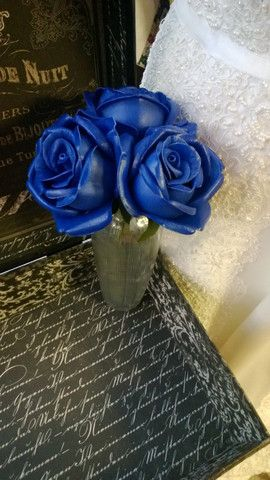 Real Touch Royal Blue Rose Wedding Flowers, Royal Blue Bouquet, Royal Blue Flowers, Bridal Bouquet, Blue Wedding Bouquet