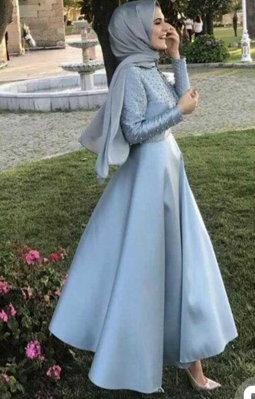 Saten Tesettur Abiye Elbise Modeli Musluman Elbisesi The Dress Elbise Modelleri