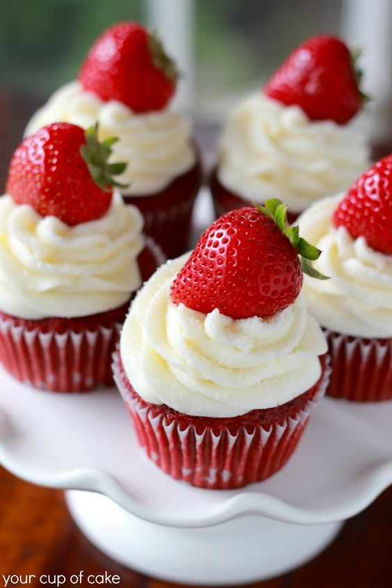 Strawberry Red Velvet Cupcakes:
