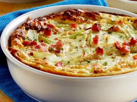 Receita de Gratinado de Chuchu com presunto e queijo - 2 chuchus, 100g de presunto cortado em cubos pequenos, Sal e pimenta a gosto, Salsa picada a gosto, 3 ovos, 1/2 xícara (chá) de leite, 1/2 xícara (chá) de creme de leite, 1/4 de xícara (chá) de queijo parmesão ralado