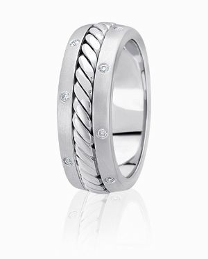 Cable Center Wedding Ring Accented By Flush Set Diamond Edges: Diamond Wedding Bands, Wedding Ring, Gold Wedding Bands, Theweddingbandco Com Offers, Theweddingbandco Com Offering, Yellow Rose, Wedding Bands Rings, Band Collection, Classic Style