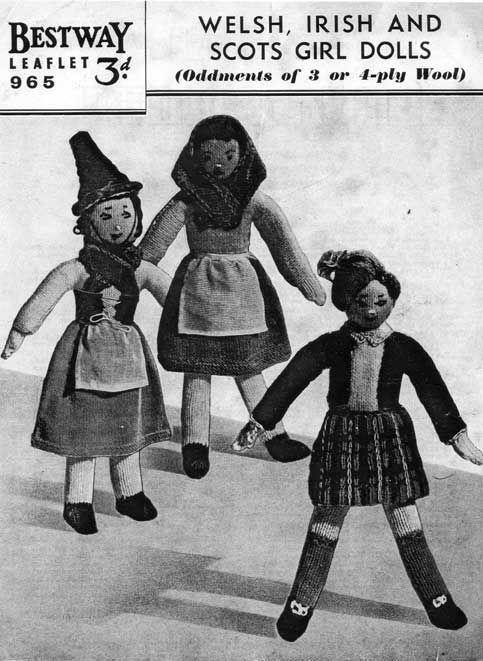 Knitting Patterns For Welsh Dolls : FREE PATTERN *.* Vintage knitting pattern of Irish, Welsh and Scotts dolls ...