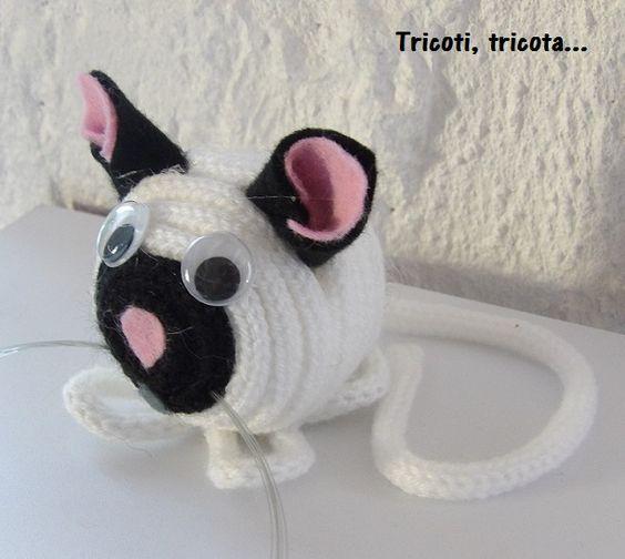 Petit chat blanc en tricotin